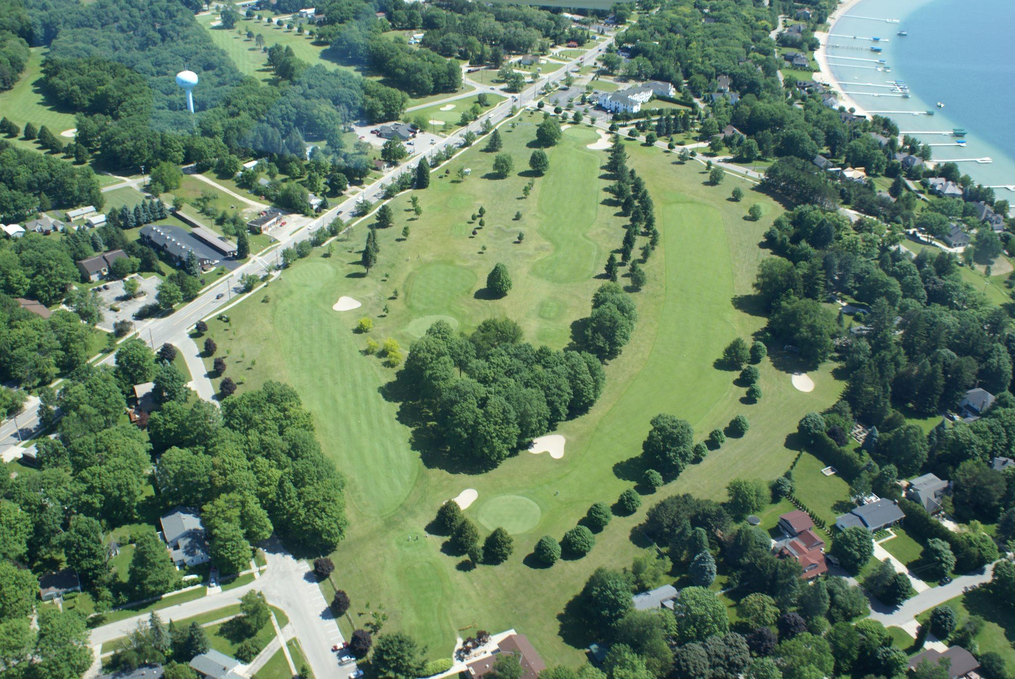 aerial view of golf club
